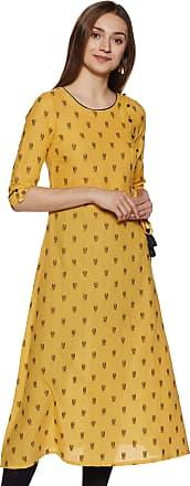 Aurelia Womens Cotton A-Line Kurta (19FEA10707-700338_ Yellow_ Large)