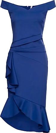 1605c599a13a25 BODYFLIRT boutique Off-Shoulder-Kleid mit Volants in blau von bonprix