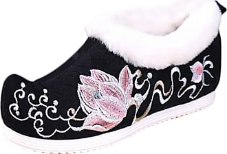 ICEGREY Womens Chinese Style Embroidered Mary Jane Shoes Fleece Loafers Lotus Black 8.5