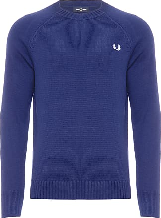Fred Perry BLUSA MASCULINA CONTRAST TEXTURE CREW NECK JUMPER - AZUL