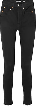 Re/Done High Rise Ankle Crop Skinny Jeans - Black