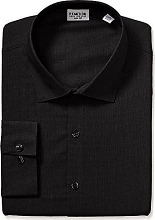 Kenneth Cole Reaction Kenneth Cole Reaction Mens Technicole Slim Fit Stretch Solid Spread Collar Dress Shirt, Black, 18 Neck 36-37 Sleeve