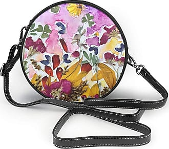 Turfed PU Round Shoulder Bag Lovely Pressed Flower Art Cross Body Bag