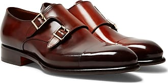 Monk strap Brown leather Shoes Burnished Santoni qYwaa