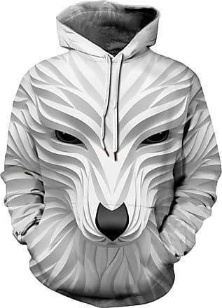 Ocean Plus Boys 3D Hoodie Fun Sweatshirt Hoodie with Kangaroo Pocket Sporty Digital Print Pullover Hooded (XL (Height: 135-145cm), White Fox 3)