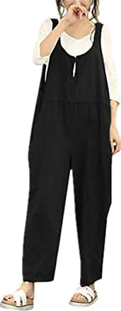 JERFER Women Sleeveless Dungarees Loose Cotton Long Playsuit Jumpsuit Pants Trousers Fashion Causal Playsuit Sexy Rompers Black