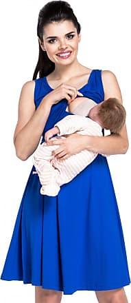 Zeta Ville Zeta Ville - Womens Maternity Nursing Layered Dress V-Neck Sleeveless - 685c (Royal Blue, UK 16/18, 2XL)