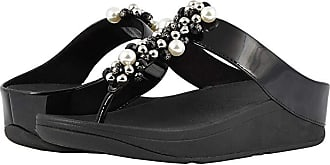 FitFlop Deco Toe Thong Sandals (Black) Womens Shoes