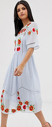 Asos Tall ASOS DESIGN Tall embroidered midi smock dress with ladder trims-Blue
