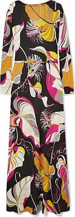 Emilio Pucci Printed Silk Crepe De Chine Maxi Dress - Black