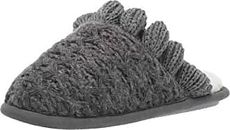 Nine West Womens Textured Knit Closed Toe Scuff with Ruffle Slipper dark heather grey-1 S Regular US