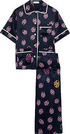 Olivia Von Halle Olivia Von Halle Woman Lila Wendy Printed Silk-satin Pajama Set Midnight Blue Size 3