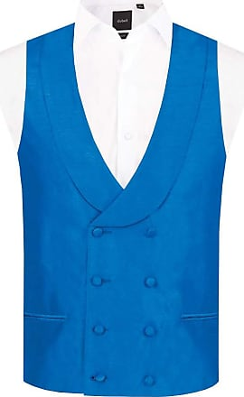 Dobell Mens Royal Blue Waistcoat Regular Fit Double Breasted Shawl Lapel Dupion-2XL (50-52in)