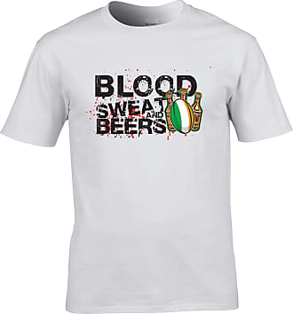 Tim And Ted Ireland Rugby Supporter T Shirt Blood, Sweat and Beers - (White/XXXXX-Large)