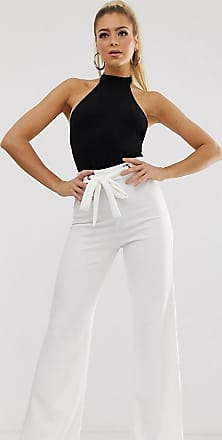 Missguided Exclusive flared trousers with eyelet waist detail in white
