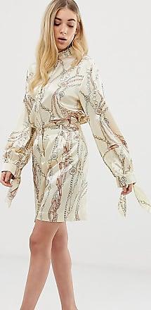 Unique21 Pantaloncini lunghi comodi con stampa vintage di catene in coordinato-Oro