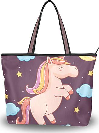 Lorona Women Unicorn With Stars Canvas Shoulder Hand Bag Large Capacity Tote Bag