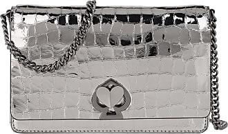 Kate Spade New York Romy Metallic Croc Embossed Chain Wallet Gunmetal Umhängetasche silber