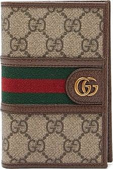 Gucci Ophidia Gg Plaque Leather Passport Holder - Mens - Beige