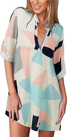 Zanzea Womens V Neck Color Block Long Sleeve Shirt Loose Fit Plus Size Tunic Blouses Tops, As Picture, 12