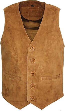 Infinity Mens Goat Suede Classic Smart Tan Leather Waistcoat 3XL