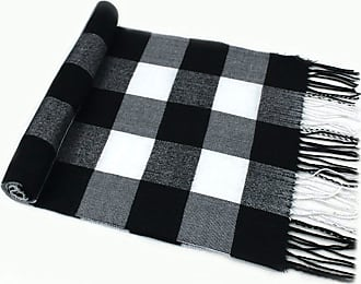 CJ Apparel Black & White Mens Large Checkered Pattern Design Fashion Knitted Scarf Seconds Scarves Fall/Winter NEW