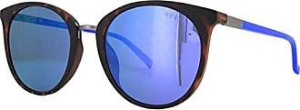 Guess Gu3022 Round Sunglasses, dark havana & blu mirror, 52 mm