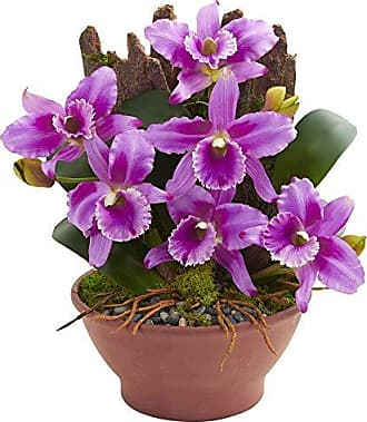 Nearly Natural 1673-PP Cattleya Orchid Artificial Clay Vase Silk Arrangements Purple