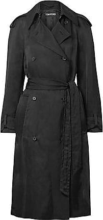 6238a88cb5 Tom Ford Tom Ford Woman Double-breasted Twill Trench Coat Black Size 42