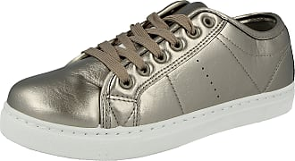 Urban Jacks Ladies Girls Baltimore Metallic Canvas Lace Up Low Top White Toe Cap Trainers Size 6 Infant- UK 8 (UK 4/ EU 37, Gold Patent)