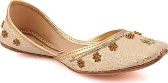 Unze Unze Womens Hankis Stylish Wedding Flat Leather Indian Khussa - Gold - 4 UK