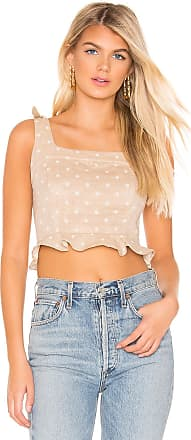 J.O.A. Cropped Polka Dot Top in Taupe