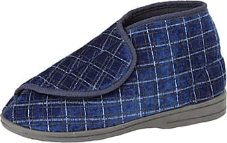 Zedzzz Mens Navy Check Velour Washable Touch Fastening Bootee Slipper - Bertie - Navy Check - size UK Mens Size 12