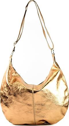 modamoda.de Italian handbag shoulder bag shopper Womens bag real suede leather bag T02, Colour:Copper Gold Metallic