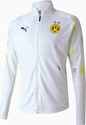 Puma BVB Stadium Mens Football Jacket, White/Third, size 2X Large, Clothing
