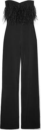 fb4377fd0521 Saloni Aurelie Feather-trimmed Cady Jumpsuit - Black