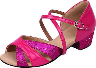 Insun Girls Ballroom Dance Shoes Latin Salsa Performance Shoes Suede Sole Fuchsia 1 10.5 UK Child