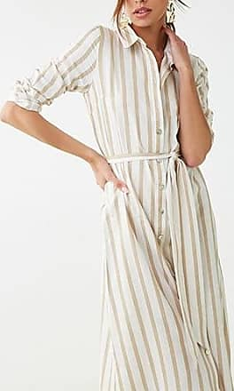 Forever 21 Forever 21 Striped Shirt Dress Taupe/cream