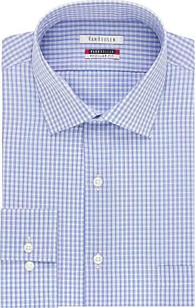 Van Heusen Mens Flex Collar Regular Fit Spread Collar Dress Shirt, Blue, 16.5 Neck 36-37 Sleeve