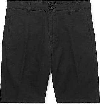 Aspesi Cotton And Linen-blend Twill Shorts - Black
