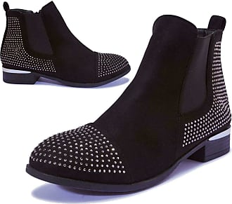 Truffle Womens Chelsea Ankle Boots Low Flat Heel Studded Shoes Stud Shoe Boot 5 6 - Black - UK 5