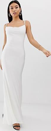 Club L Lange jurk met gedrapeerde halslijn in wit