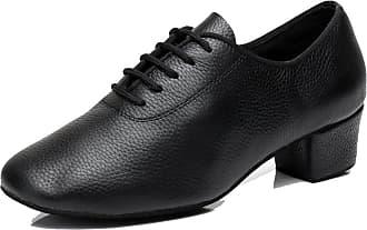 MGM-Joymod LD0195 Womens Comfort Lace-up Black Leather Salsa Tango Samba Modern Latin Dance Shoes 8 M US