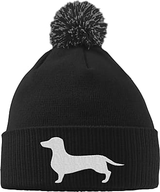 HippoWarehouse Dachshund Logo Embroidered Beanie Hat with Bobble Black