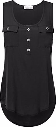 Kobay Womens Casual T-Shirt Ladies O-Neck Sexy Sleeveless Vest Loose Tank Tops Plus Size Summer Black