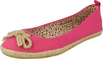 Spot On Ladies Flat Slip On Shoes - Fuchsia Textile - UK Size 6 - EU Size 39 - US Size 8