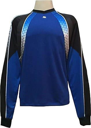 Kanxa Camisa de Goleiro Profissional modelo Paraí Tam G Nº 12 - Azul Royal/Preto - Kanxa