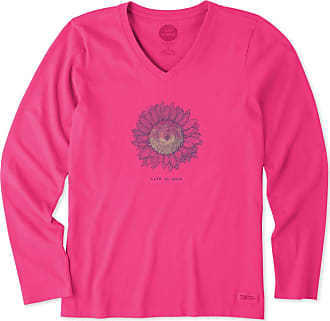 174025a2bc7998 Life is good Womens Engraved Sunflower Long Sleeve Crusher Vee XXXL Fiesta  Pink