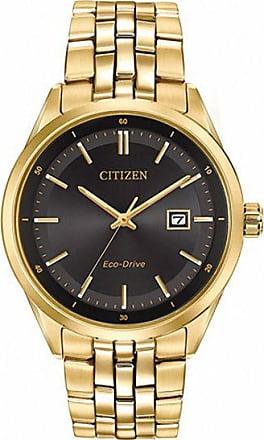 Zales Mens Citizen Eco-Drive Gold-Tone Watch with Black Dial (Model: Bm7252-51E)