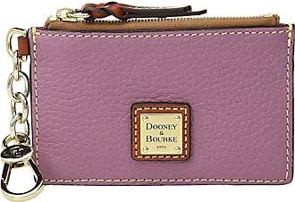 Dooney & Bourke Pebble Zip Top Card Case (Dark Mauve/Tan Trim) Credit card Wallet
